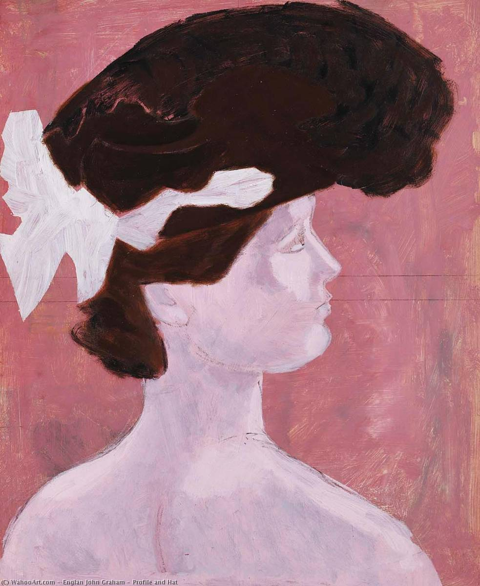 Profile and Hat, Charcoal by Englan John Graham