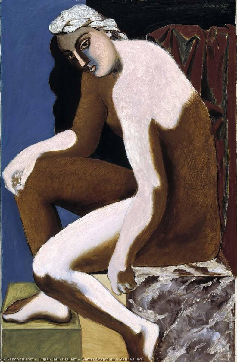 Woman Seated on a Marble Block, 1927 by Englan John Graham | WahooArt.com