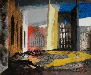John Piper - Interior of Coventry Cathedral, 15 November 1940
