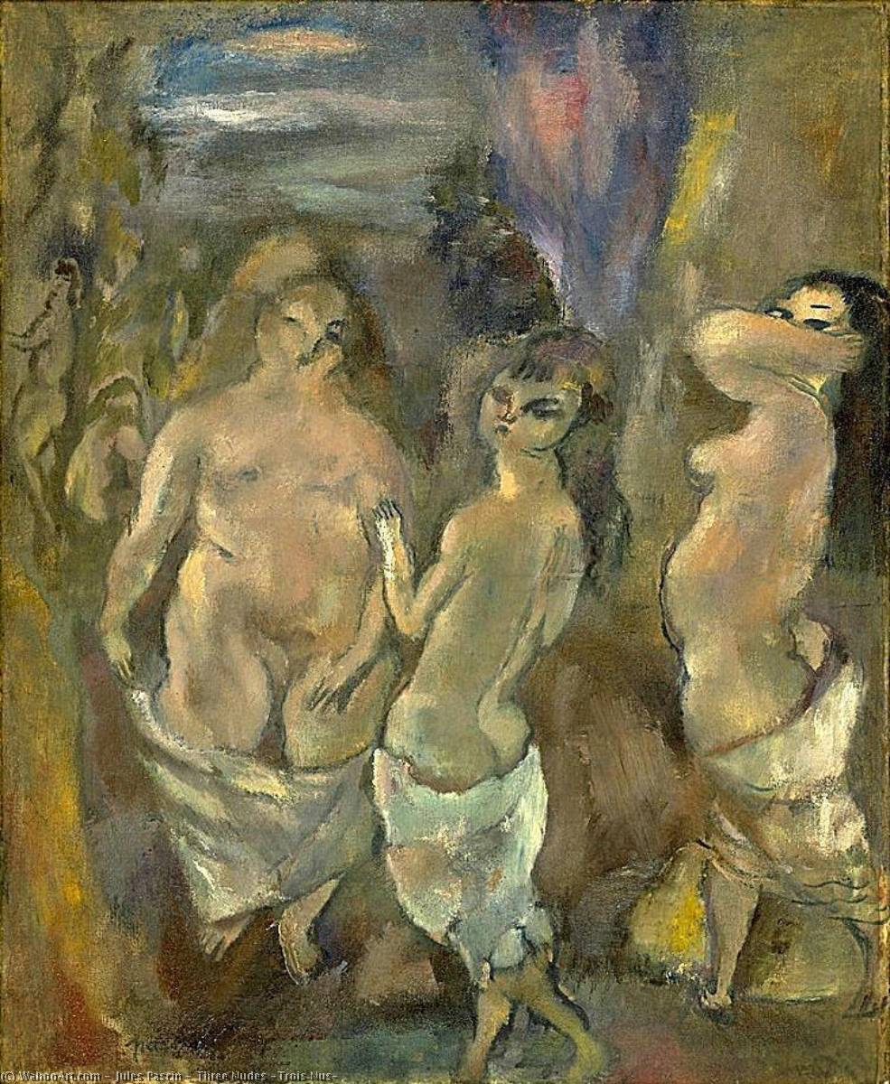 Three Nudes (Trois Nus), Oil On Canvas by Julius Mordecai Pincas (1885-1930, Bulgaria)