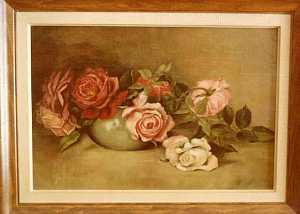 Lora Normington Lapham - Roses in a Bowl, (painting)