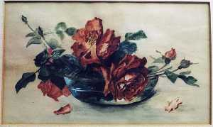 Lora Normington Lapham - (Roses in Glass Bowl), (painting)