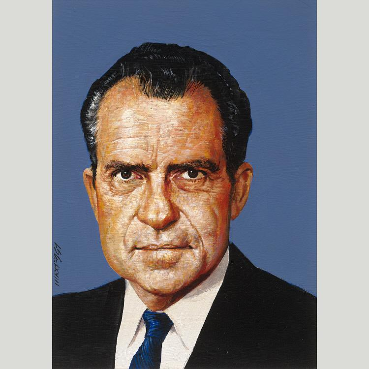 Richard Nixon, Acrylic by Louis S Glanzman
