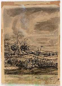 William C Palmer - Iowa Landscape (mural study, center panel of triptych for the Monticello, Iowa Post Office)