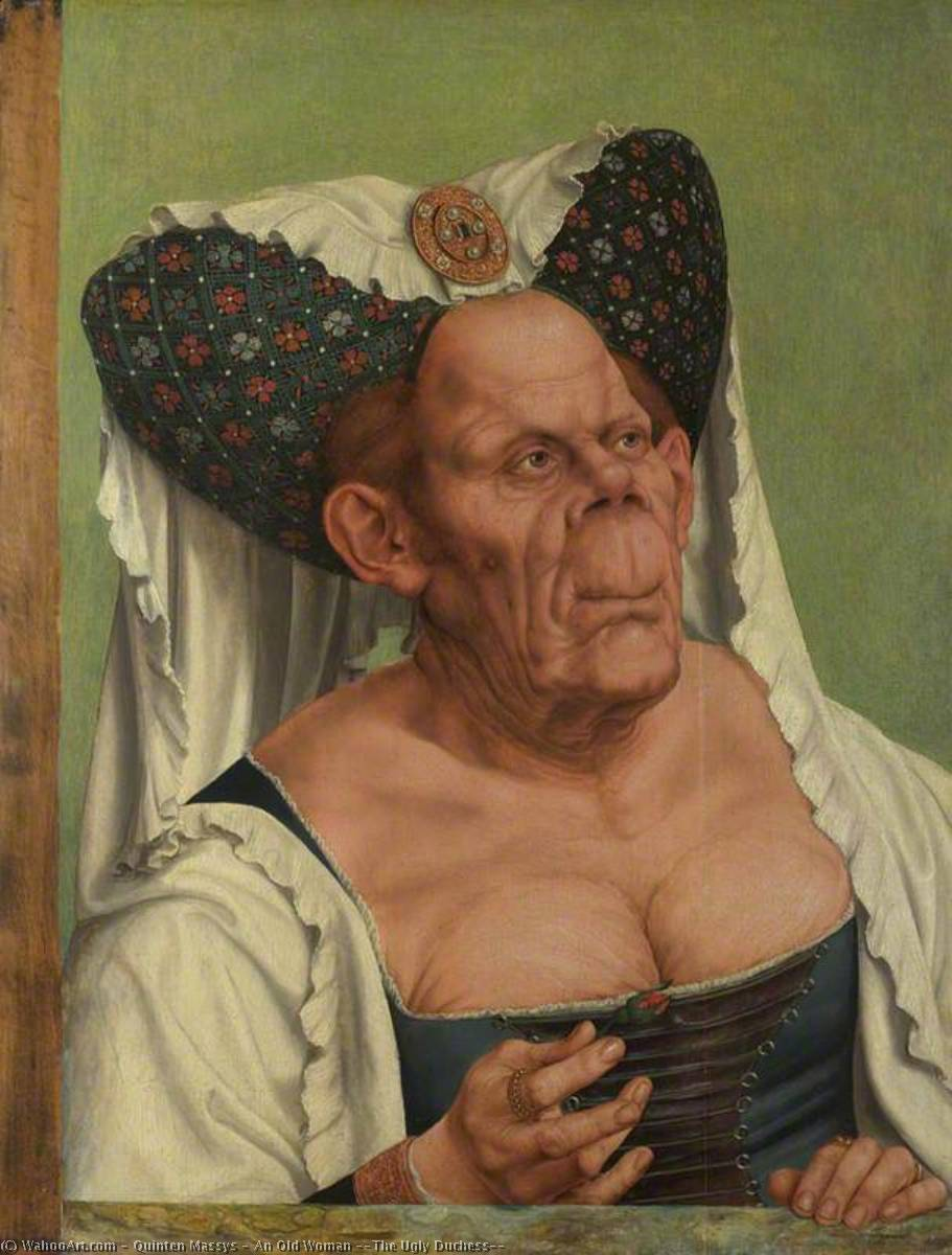 An Old Woman ('The Ugly Duchess'), Oil by Quinten Massys