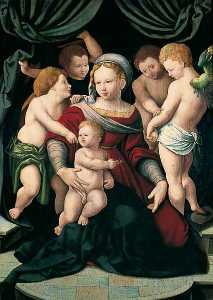 Bartholomaeus Bruyn The Elder - Madonna and Child with Four Cherubs