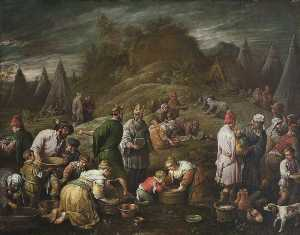Francesco Bassano Ii - The Israelites Gathering Manna