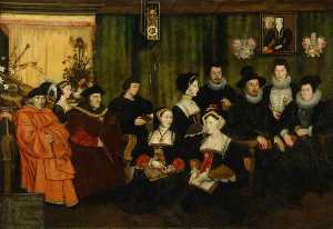 Rowland Lockey - Sir Thomas More, his father, his household and his descendants (copy after Hans Holbein the younger)