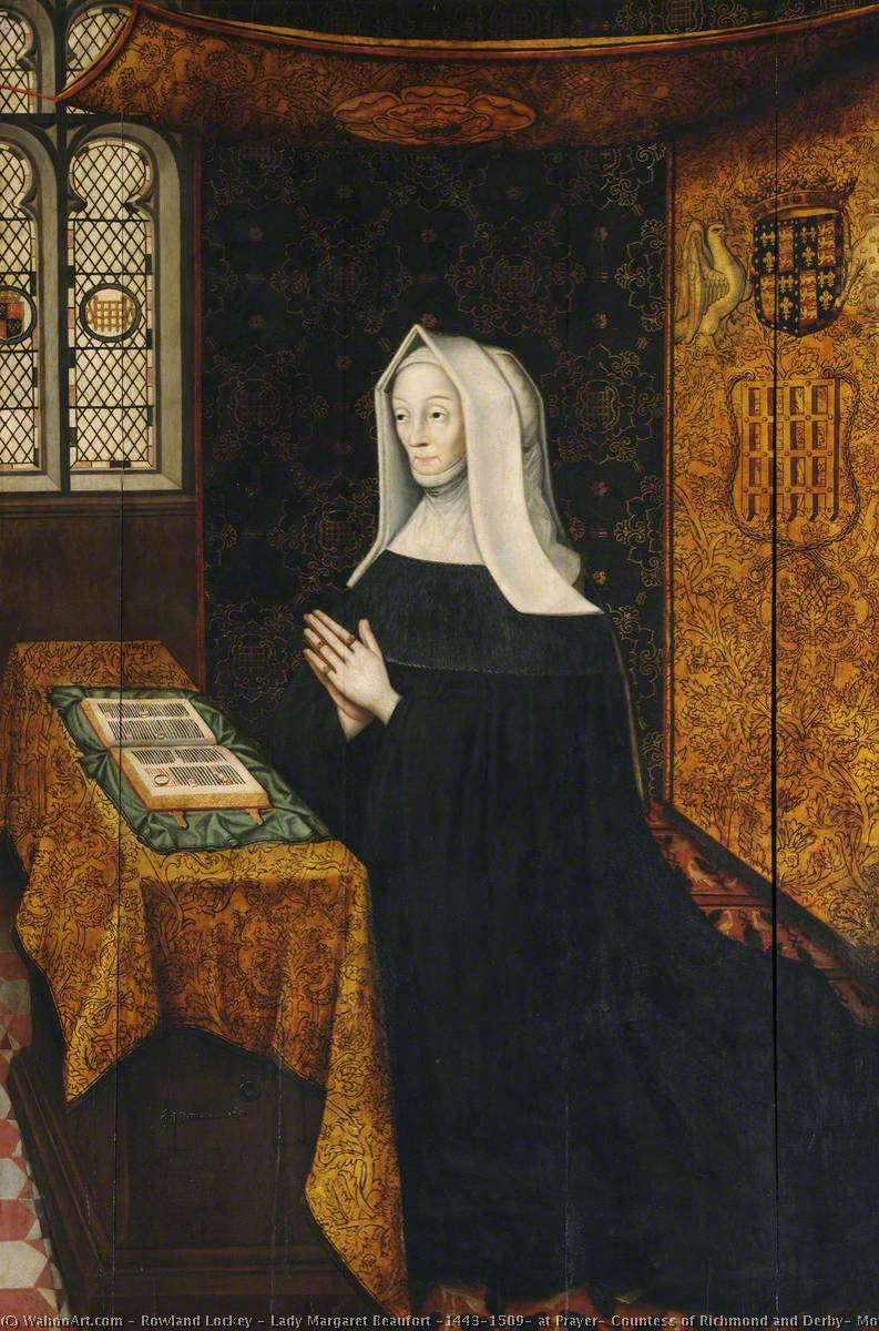 Lady Margaret Beaufort (1443–1509) at Prayer, Countess of Richmond and Derby, Mother of King Henry VII and Foundress of the College, Oil On Panel by Rowland Lockey