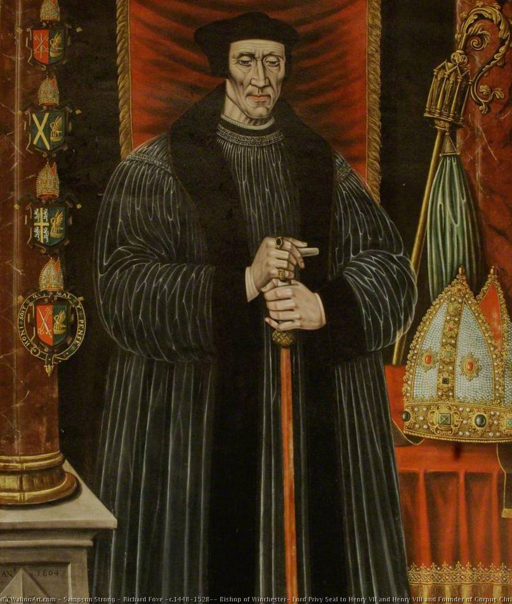 Richard Foxe (c.1448–1528), Bishop of Winchester, Lord Privy Seal to Henry VII and Henry VIII and Founder of Corpus Christi College, Oxford, Oil On Panel by Sampson Strong