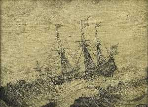 Experiens Sillemans - A Dutch Ship in a Stormy Sea