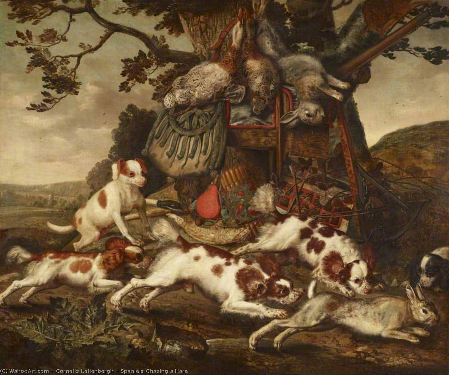Spaniels Chasing a Hare by Cornelis Van Lelienbergh (1626-1676, Netherlands) | Oil Painting | WahooArt.com