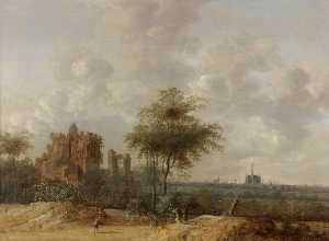 Anthony Jansz Van Der Croos - Landscape with the Ruined Castle of Brederode and a Distant View of Haarlem
