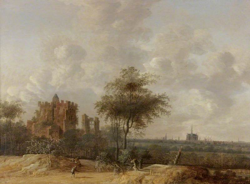 Landscape with the Ruined Castle of Brederode and a Distant View of Haarlem, 1655 by Anthony Jansz Van Der Croos (1606-1662) | Museum Quality Copies Anthony Jansz Van Der Croos | WahooArt.com