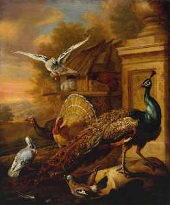 Marmaduke Cradock - A Peacock and Other Birds in a Landscape