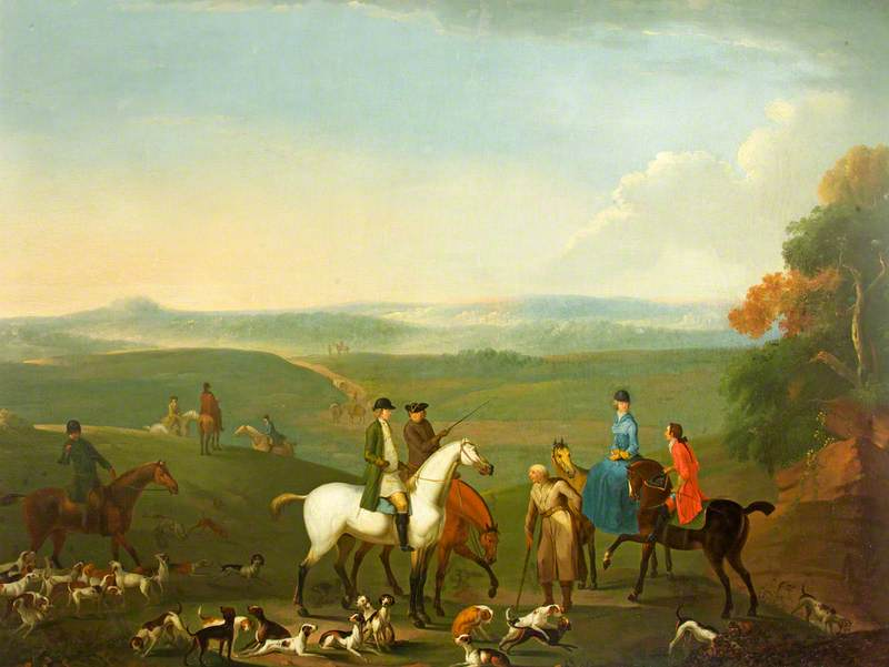 Mr Howell Gwynne and Mr Chas Price at the Meet of Fox Hounds, Garth Bank near Builth Wells, Oil On Canvas by Benjamin Barker Ii