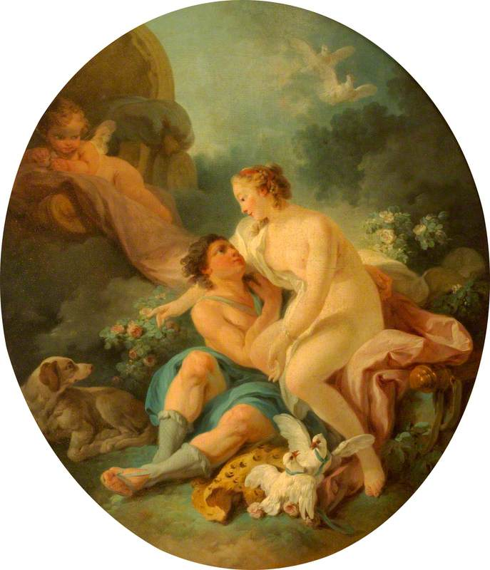 Order Reproductions | Venus and Adonis, 1778 by Jean Baptiste Huet I | WahooArt.com