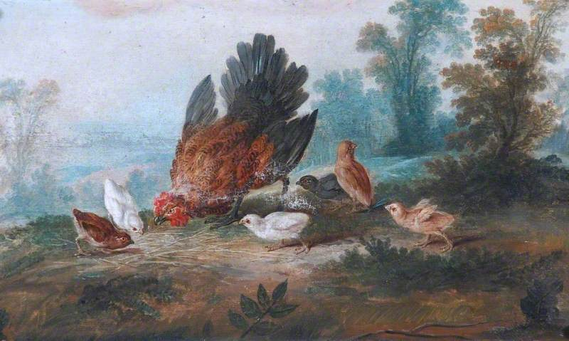 Hen and Chickens by Jean Baptiste Huet I | Paintings Reproductions Jean Baptiste Huet I | WahooArt.com
