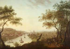 Edmund Garvey - Distant View of Bristol from Ashton Court with Merchants' Dock and Clifton Wood
