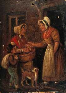 Stephen Jenner - A Woman with a Basket of Fruit, and a Boy, Offer Fruit to a Woman in the Doorway of Her House