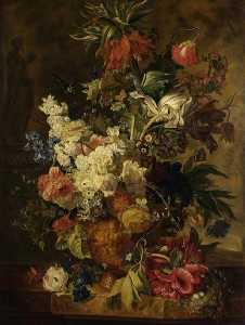 Paul Theodor Van Brussel - Vase with Flowers (after Jan van Huysum)
