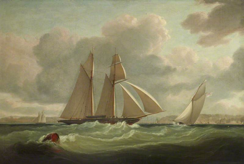 The `Camilla`, of the Royal Yacht Squadron, Owned by Henry Montagu Upton (1799–1863), 2nd Viscount Templeton, off Cowes, 1840 by John Lynn | Art Reproductions John Lynn | WahooArt.com