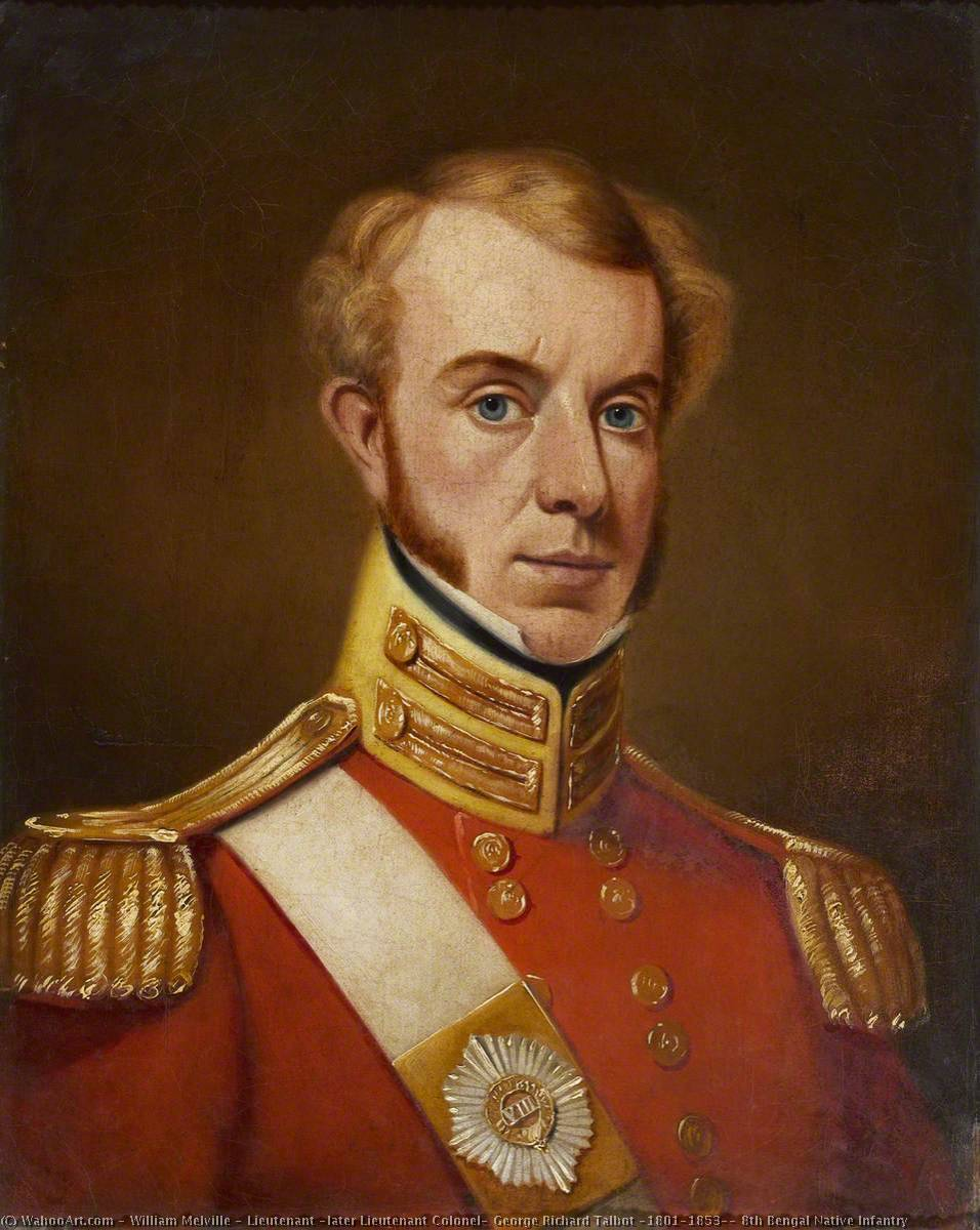 Lieutenant (later Lieutenant Colonel) George Richard Talbot (1801–1853), 8th Bengal Native Infantry, Oil On Canvas by William Melville