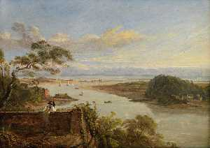 George Orleans Delamotte - The Mouth of the Neath River from Briton Ferry Grounds, the Seat of the Earl of Jersey