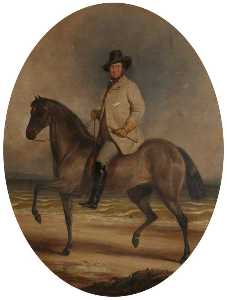 Order Museum Quality Copies | Frederick William Robert Stewart (1805–1872), 4th Marquess of Londonderry, KP, PC, on a Horse by the Sea, 1856 by Charles Grey | WahooArt.com