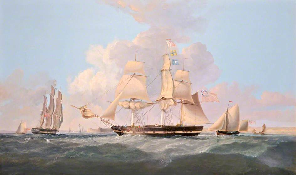 `Combatant` Entering the Mersey by Thomas Dove | Painting Copy | WahooArt.com
