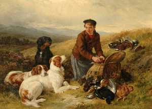 James Hardy Ii - A Young Gillie, with Setters and Dead Game