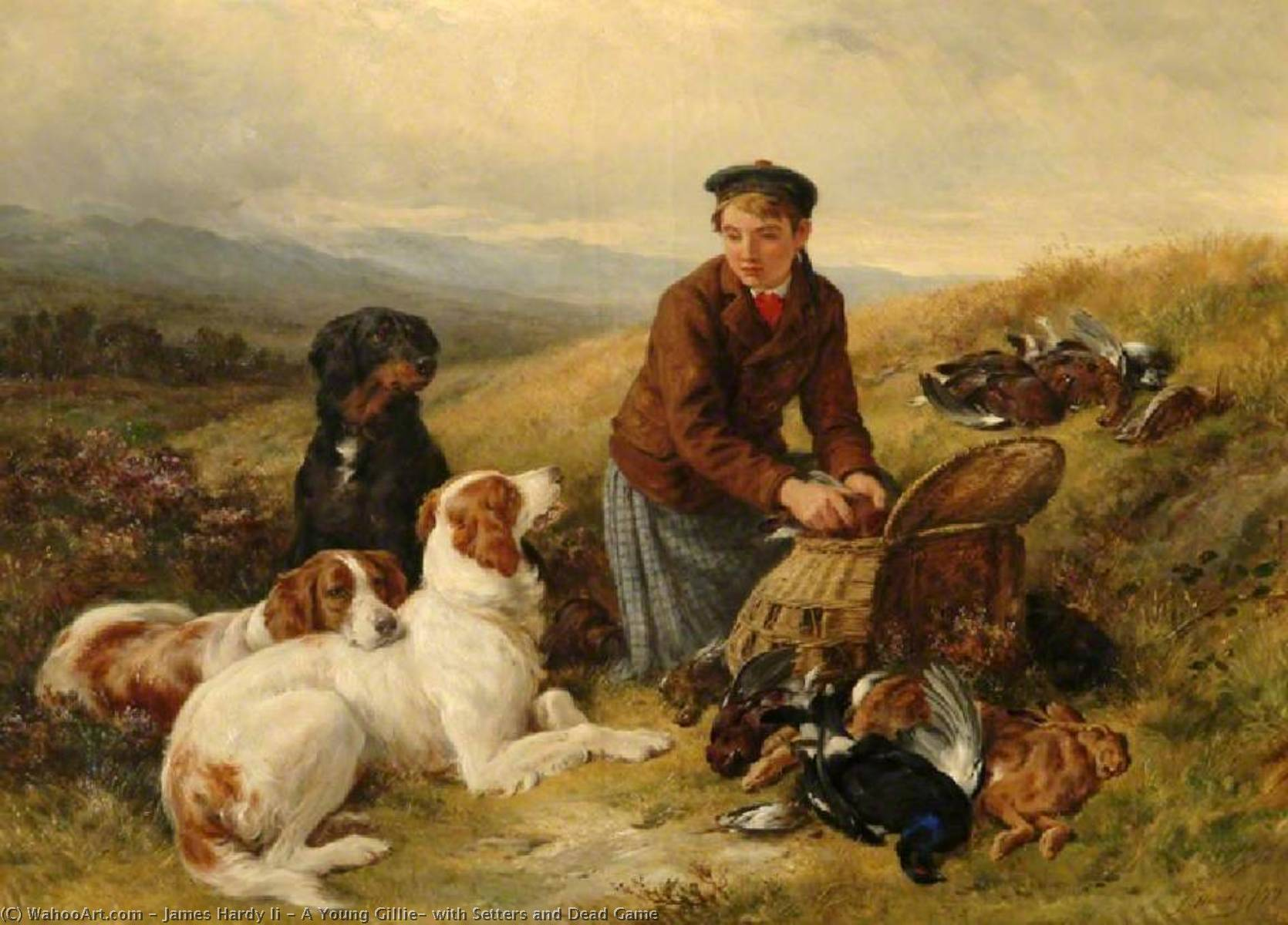 Order Art Reproductions | A Young Gillie, with Setters and Dead Game, 1877 by James Hardy Ii | WahooArt.com