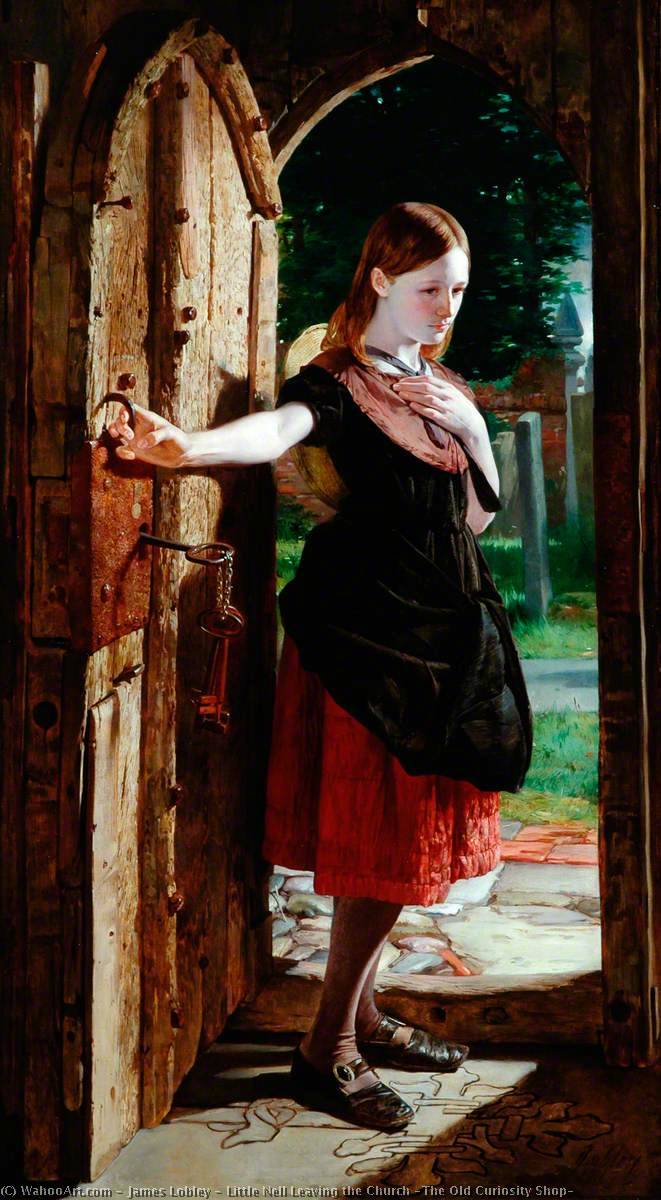 Little Nell Leaving the Church (The Old Curiosity Shop), Oil On Canvas by James Lobley