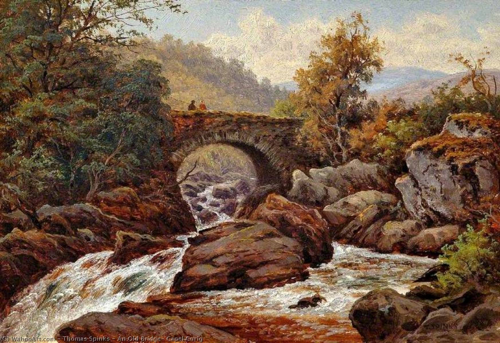 An Old Bridge, Capel Curig, 1887 by Thomas Spinks | WahooArt.com