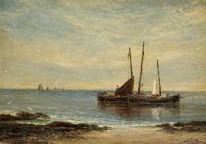 Alfred Sanderson Edward - Fishing Boats at the Mouth of the Tay