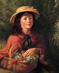 Robert Collinson - Young Girl with a Basket of Flowers