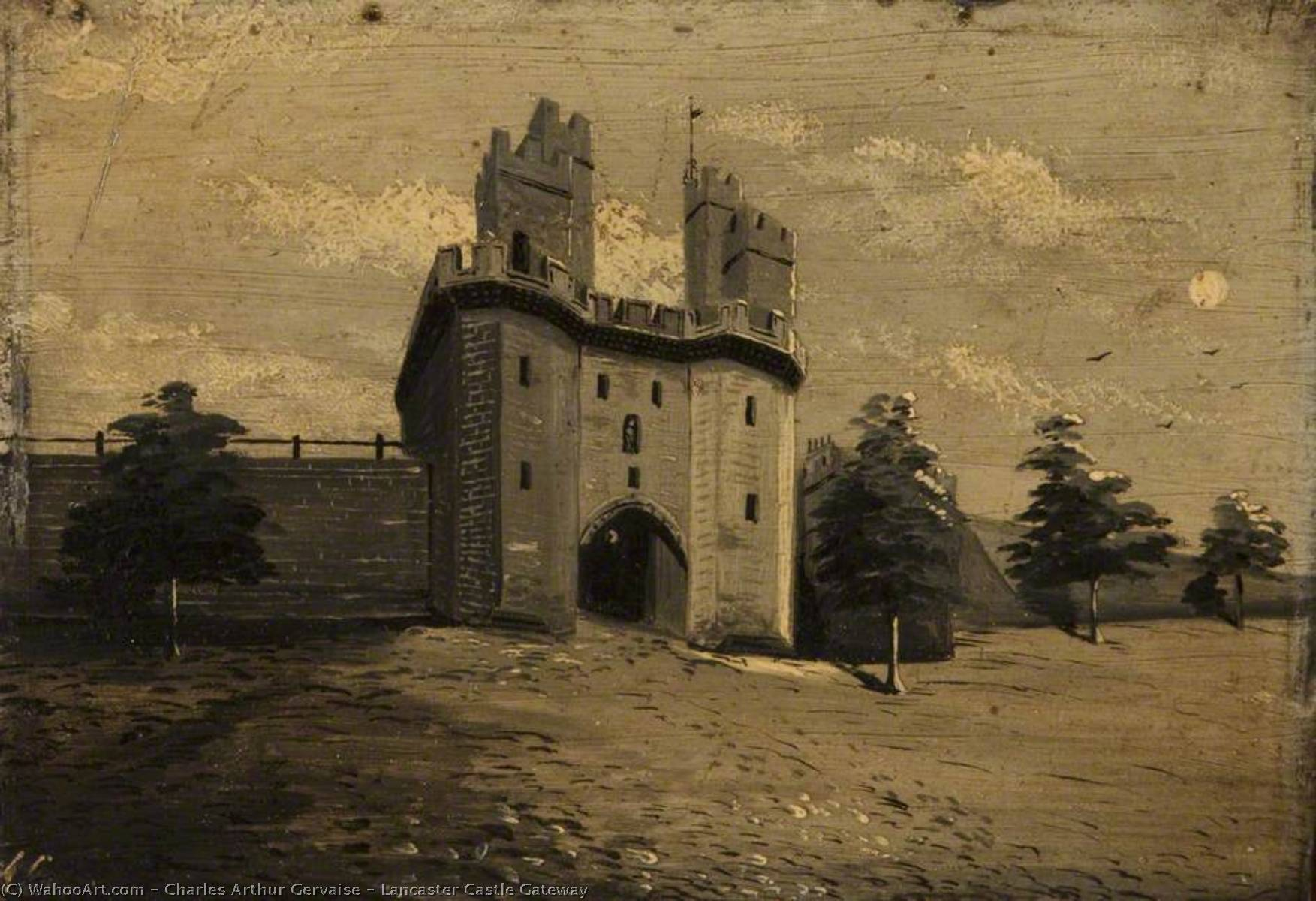 Lancaster Castle Gateway, 1874 by Charles Arthur Gervaise | Museum Art Reproductions Charles Arthur Gervaise | WahooArt.com