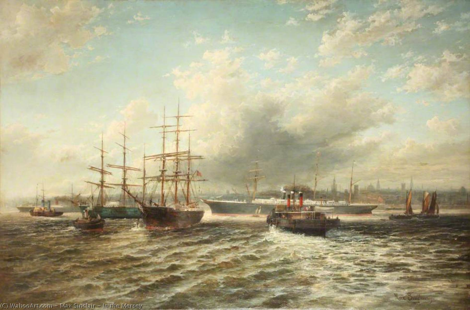 In the Mersey, Oil On Canvas by Max Sinclair