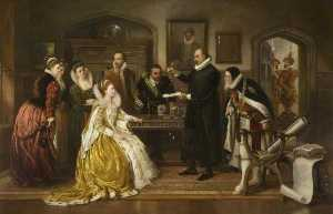 Arthur Ackland Hunt - Dr William Gilberd Showing His Experiments on Electricity to Queen Elizabeth and Her Court