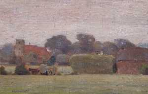 Horace Augustus Mummery - Tottenham Church from the Fields opposite Broadwaters Farm
