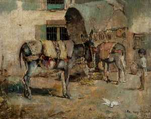 Philippe Pavy - A Street Scene in Malaga with Child and Donkeys
