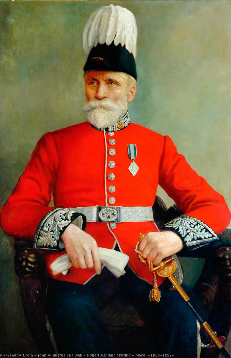 Robert Aspland Marillier, Mayor (1896–1897), Oil On Canvas by John Augustus Thelwall