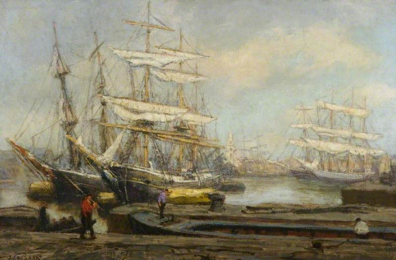 Rotterdam Boats, Oil On Canvas by Jacobus Cornelis Wyand Cossaar