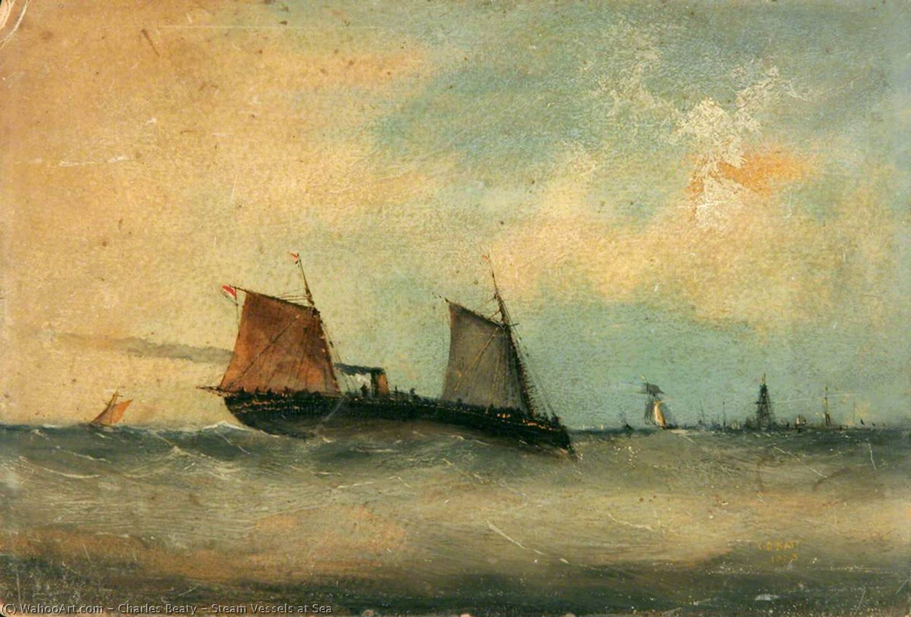 Steam Vessels at Sea, 1883 by Charles Beaty | Museum Quality Copies Charles Beaty | WahooArt.com
