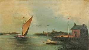 Charles Beaty - Wherry and Yacht on a Broad