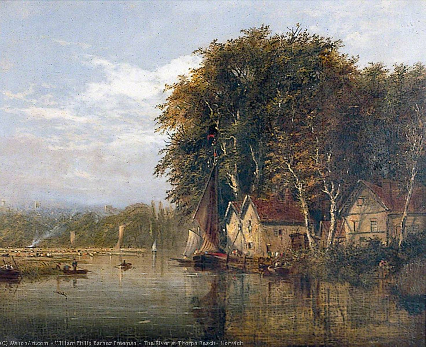 The River at Thorpe Reach, Norwich, Oil On Canvas by William Philip Barnes Freeman