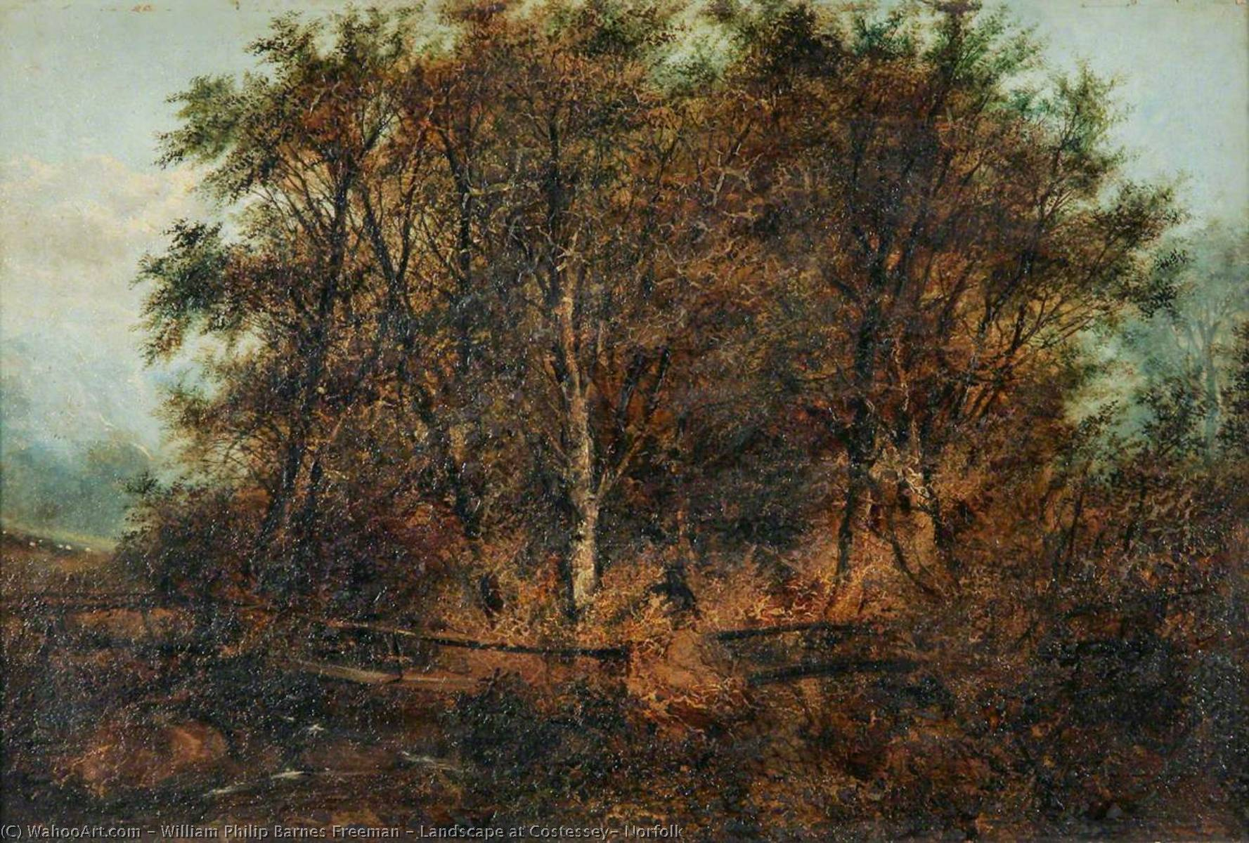 Landscape at Costessey, Norfolk by William Philip Barnes Freeman | Museum Art Reproductions William Philip Barnes Freeman | WahooArt.com