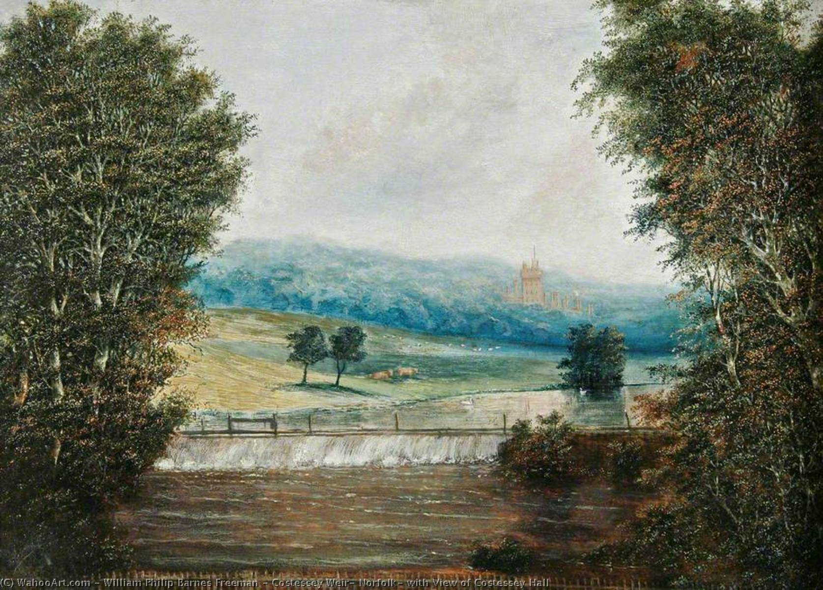 Costessey Weir, Norfolk, with View of Costessey Hall, Oil by William Philip Barnes Freeman