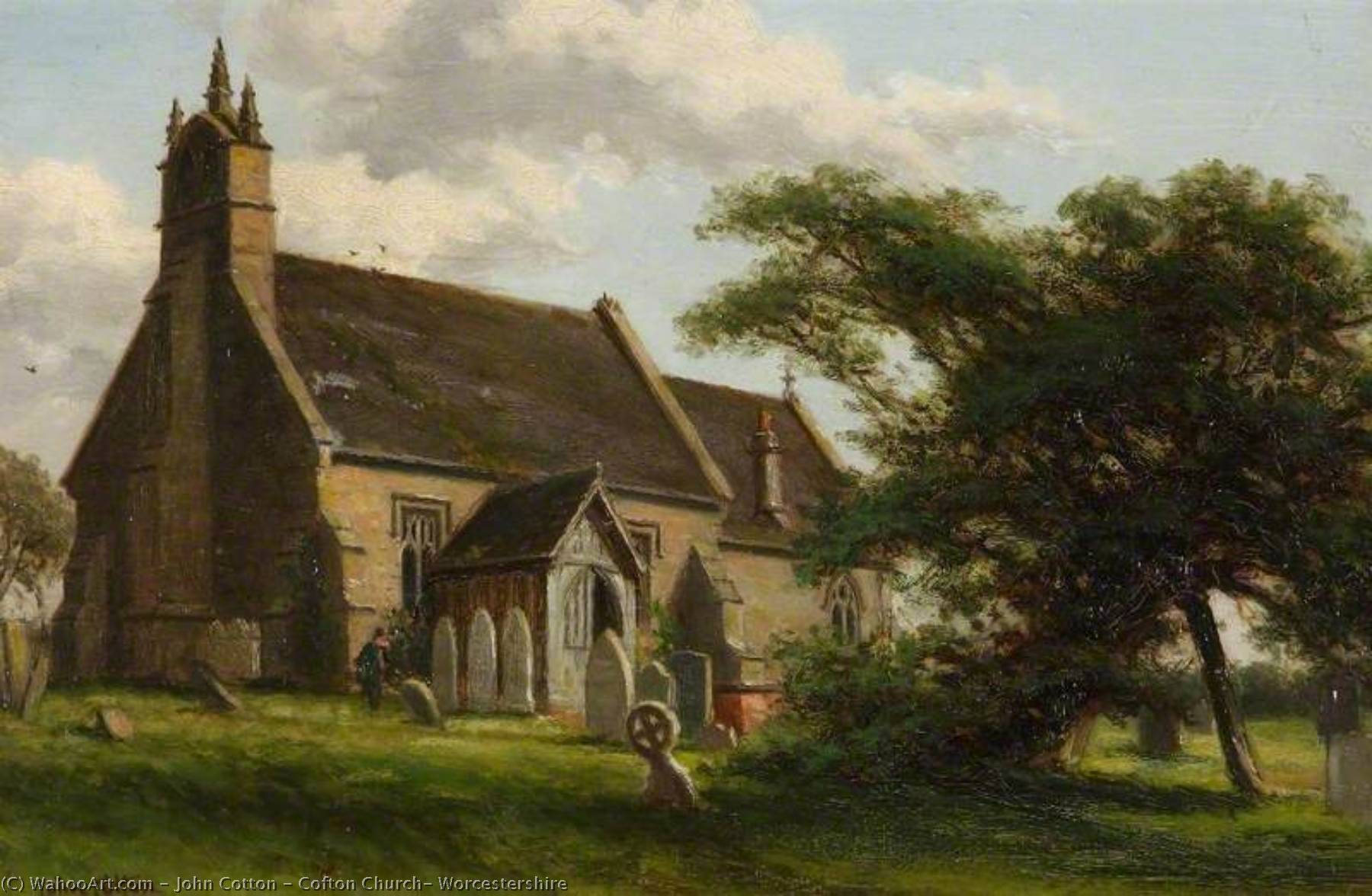Order Paintings Reproductions | Cofton Church, Worcestershire, 1904 by John Cotton | WahooArt.com