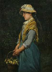 Frederick Millard - Cornish Girl with Basket of Primroses